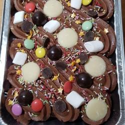 Vegan Celebration Chocolate Traycake with toppings
