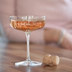Heart Crystal Champagne Coupe Glass (with personalisation)