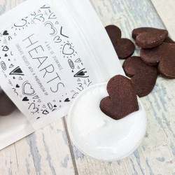 Chocolate Heart Biscuits plus Marshmallow Icing Dip - Dunkable Hearts - 12 pieces