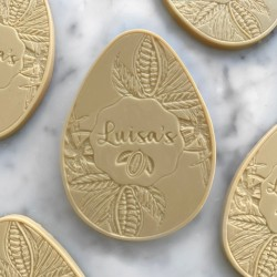 Personalised Plant-based Artisan White Chocolate Easter Egg Dairy-Free Gluten-Free Vegan Gift