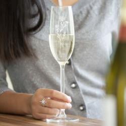 Birth Flower Crystal Champagne Glass