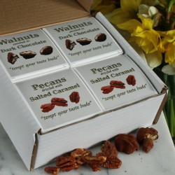 Pecans with Salted Caramel & Walnuts Enrobed in Dark Chocolate (4 Boxes)