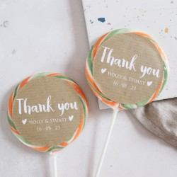 Personalised Kraft Thank You Wedding Favour Giant Lollipops