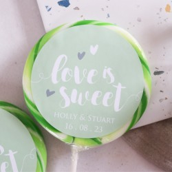 Personalised 'Love Is Sweet' Wedding Favour Giant Lollipops