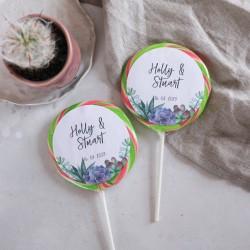 Personalised Succulent Wedding Favour Giant Lollipops
