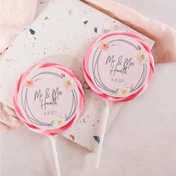 Personalised Floral Wreath Wedding Favour Giant Lollipops