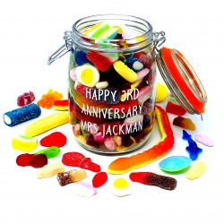 Happy Anniversary Personalised Retro Sweets Jar