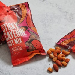 Sticky Cayenne Nut Mix With Caramelised Chilli Peanuts (3 x 70g bags)