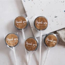 Personalised Kraft Thank You Wedding Favour Lollipops