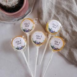 Personalised Succulent Wedding Favour Lollipops