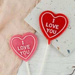 "Set of 2 Heart Shaped ""I love you"" Lollipops"