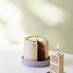 Vanilla, pistachio + white chocolate (gluten free) postal cake