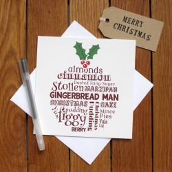 Christmas Pudding Typography Christmas Card