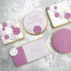 Pastel Flower Birthday Biscuit (5 Biscuits)
