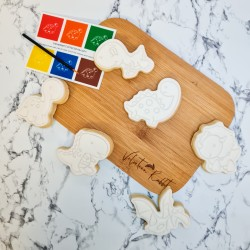Dinosaur Paint Your Own Biscuits Gift Set - 6 PYO Cookies - Vanilla or Chocolate
