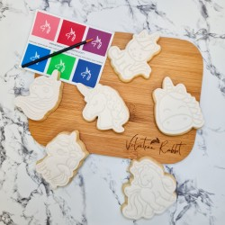 Unicorn Paint Your Own Biscuits Gift Set - 6 PYO Cookies - Vanilla or Chocolate