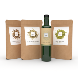 Organic Hemp Essentials Selection (Seeds, Oil, Protein Powder)
