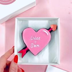 Cupid Heart Single Letterbox Cookie (Customisable)