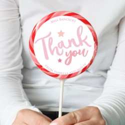 Personalised Pink 'Thank You' Teacher Giant Lollipop
