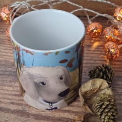 Personalised Dog Mug with Autumn background (Various Breeds and Colours)
