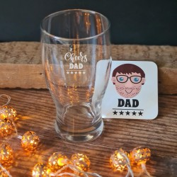 Personalised Father's Day Pint Glass and Coaster Set