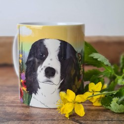 Personalised Dog Mug with Spring background (Various Breeds and Colours)