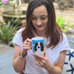 Personalised Dog Mug with Summer background (Various Breeds and Colours)