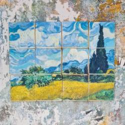 "Van Gogh ""Cypresses"" Tiles Biscuits Gift Set, 12 Pieces, Vanilla or Chocolate"