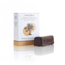 Ginger Caramel Peanuts and Chocolate Nougat Bars Enrobed in 72% Dark chocolate ( 3 boxes 2 bars in each)