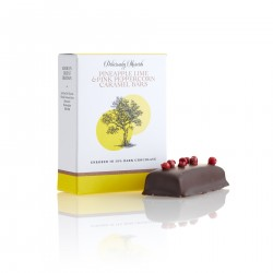 Pineapple Lime and Pink Peppercorn Caramel Dipped in Dark Chocolate (3 boxes 2 bars per box)