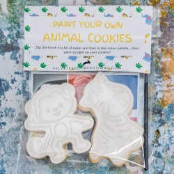 Jungle Animals Party Favour Paint Your Own Cookies, 2 PYO Biscuits, Vanilla or Chocolate
