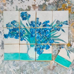 "Van Gogh ""Vase with Irises"" Tiles Biscuits Gift Set, 12 Pieces, Vanilla or Chocolate"