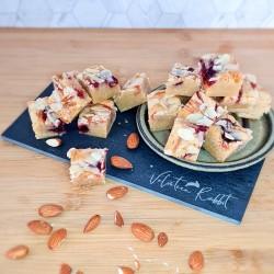 Luxury Letterbox Blondie Bites, Almond & Cherry Gourmet Postal Blondies, 18 pieces, Personalised Gift