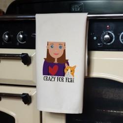 Personalised Cat Lady Tea Towel