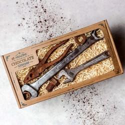 Big Ratchet Spanner, Adjustable Spanner, Plier, Nut, Bolt & Washer Chocolate Gift Box
