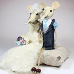 Bespoke Bride & Groom Mice Cake Topper