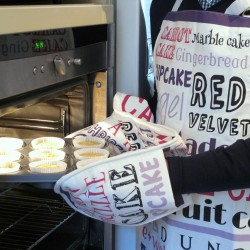 Pink Purple Typography Double Oven Gloves