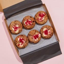 Vegan Raspberry & White Choc Deep Dish Cookies