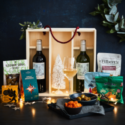 The Wine And Nibbles Wooden Christmas Gift Box