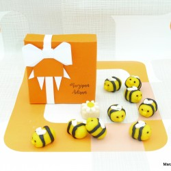 Handmade Marzipan Bumble Bee Foodie Gift Set / Cake Toppers