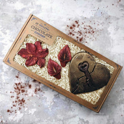 Anniversary Chocolate Heart Key And Flowers Gift Box