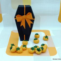 Handmade Marzipan Pumpkin Filled Coffin Box
