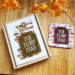 Personalised Coaster Set of Four for Home Bar