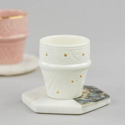 Moroccan White Ceramic Espresso Cup