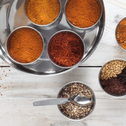 African & Middle Eastern Spice Tin with 9 Spices & Handmade Silk Sari Wrap