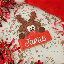Personalised Christmas Reindeer Biscuit