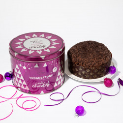 Panettone Tin (Double Chocolate) - Vegan Panettone, Christmas Cake, No Palm Oil, Made in Italy (500g)