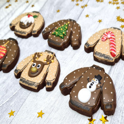 Christmas Luxury Biscuit Gift Box, Set of 6, Ugly Christmas Jumpers