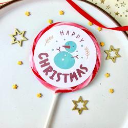 Happy Christmas Snowman Lollipop