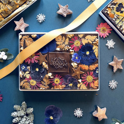 'Merry Christmas' Floral Chocolate Brownie Gift Box